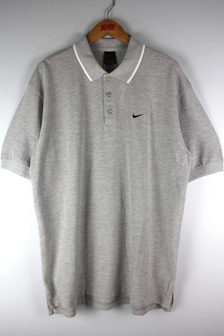 USED!!! NIKE / LOGO POLO SHIRTS (90'S) / heather grey