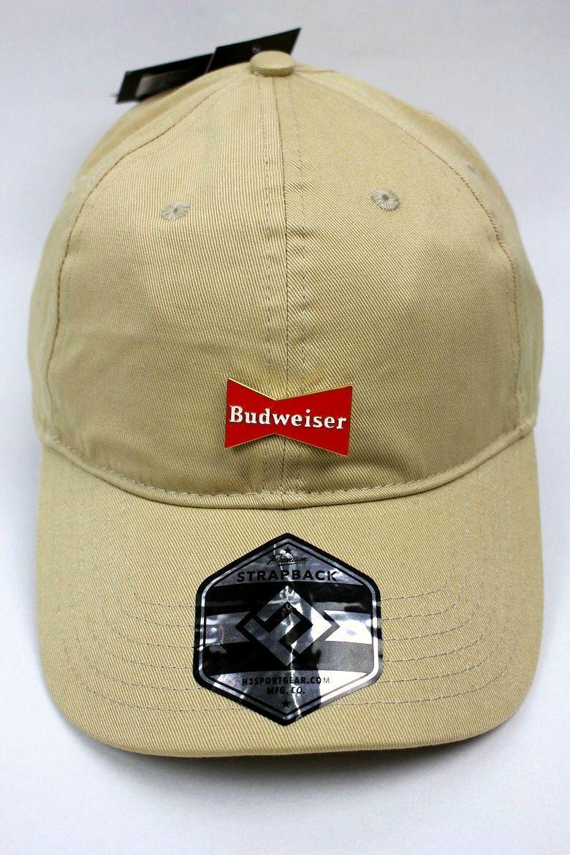 BUDWEISER / METAL PLATE LOGO STRAPBACK CAP / khaki