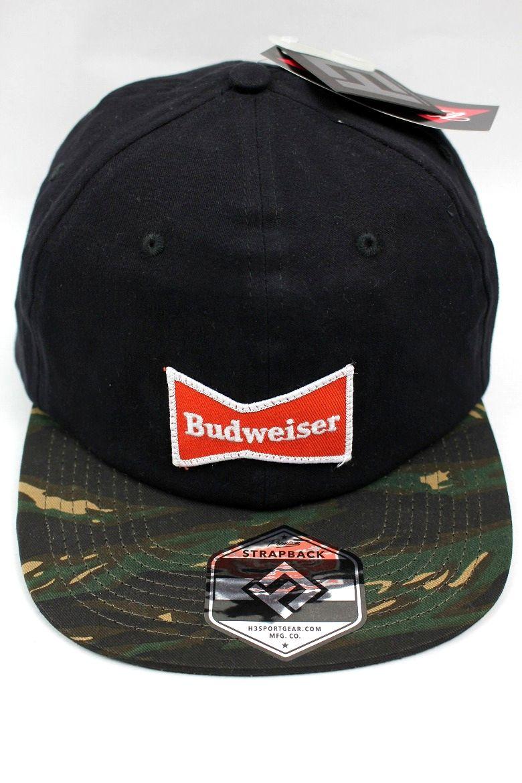 BUDWEISER / CAMO VISOR STRAPBACK CAP / black
