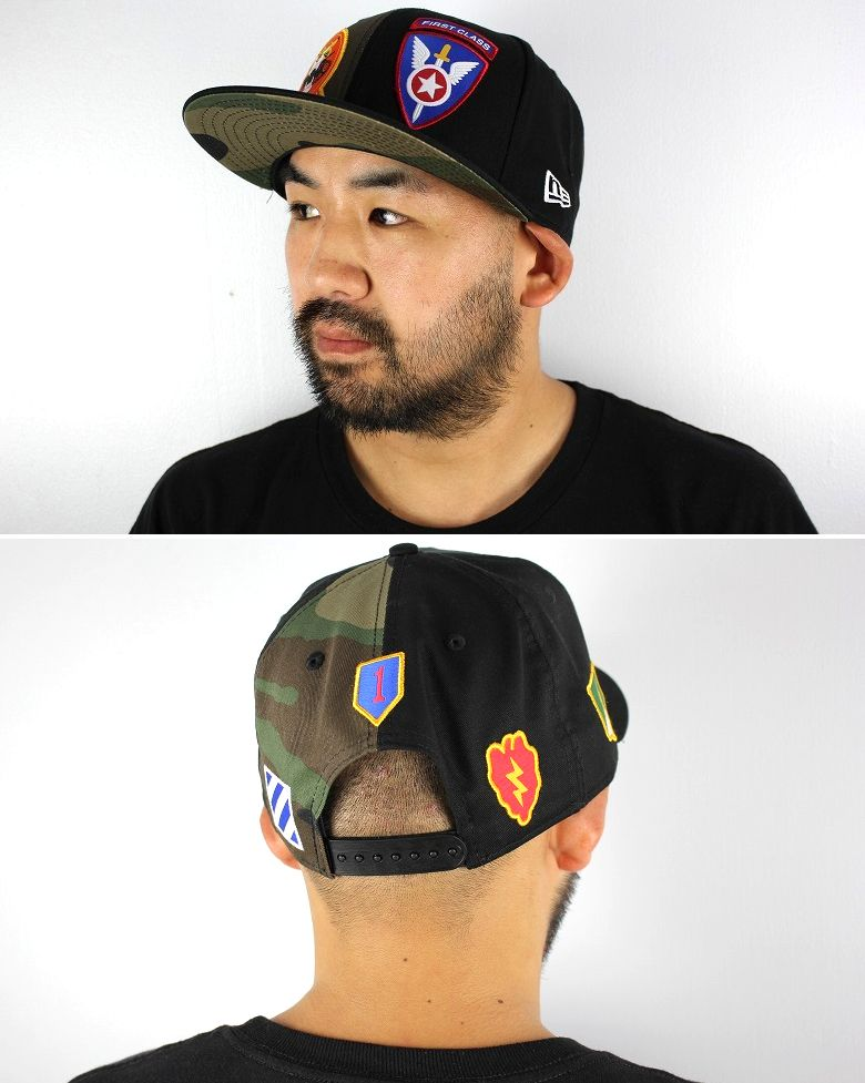 "NEWERA / ""ELITE WARRIOR PATCHES"" SNAPBACK CAP / black×woodland camo"