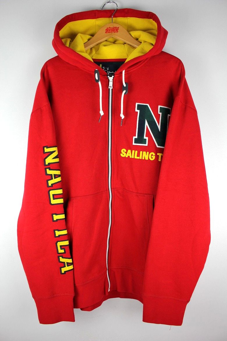 "NAUTICA×LIL YACHTY / ""SAILING TEAM"" ZIP UP SWEAT HOODIE / red×yellow"