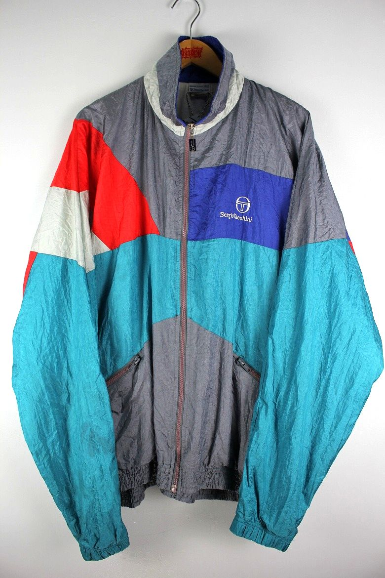 USED!!! SERGIO TACCHINI / NYLON WINDBREAKER (90'S) / multi color