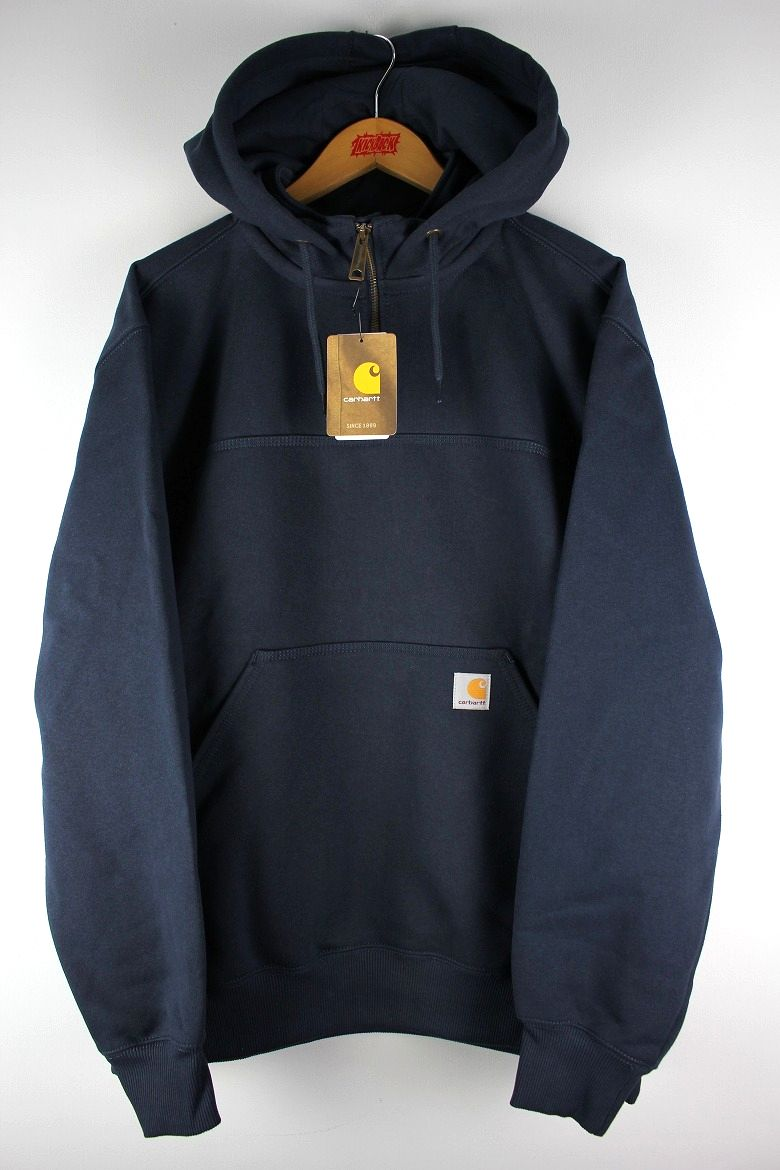 CARHARTT / RAIN DEFENDER® PAXTON HEAVYWEIGHT HOODED ZIP MOCK SWEATSHIRT / navy