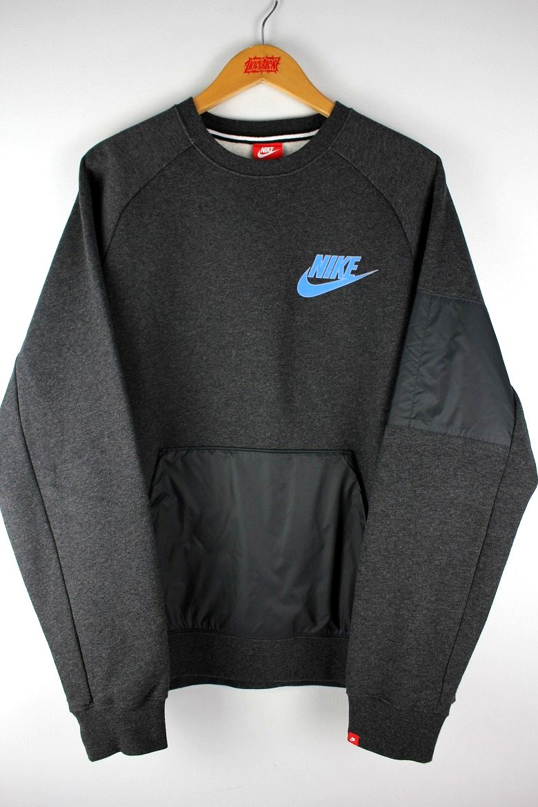 USED!!! NIKE / NYLON POCKET CREWNECK SWEAT / chacoal heather×black