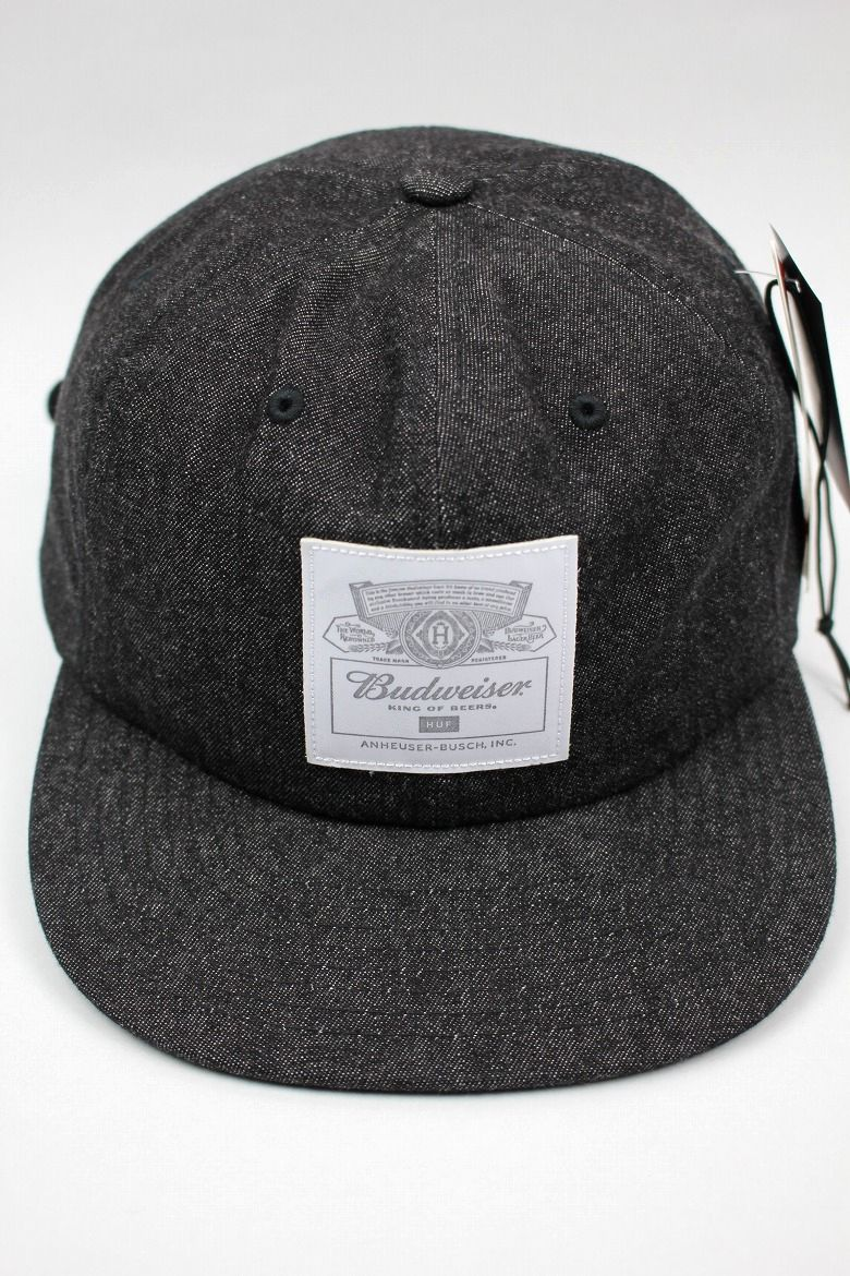 "HUF×BUDWEISER / ""BUDWEISER LABEL"" 6-PANEL DENIM CAP / black"