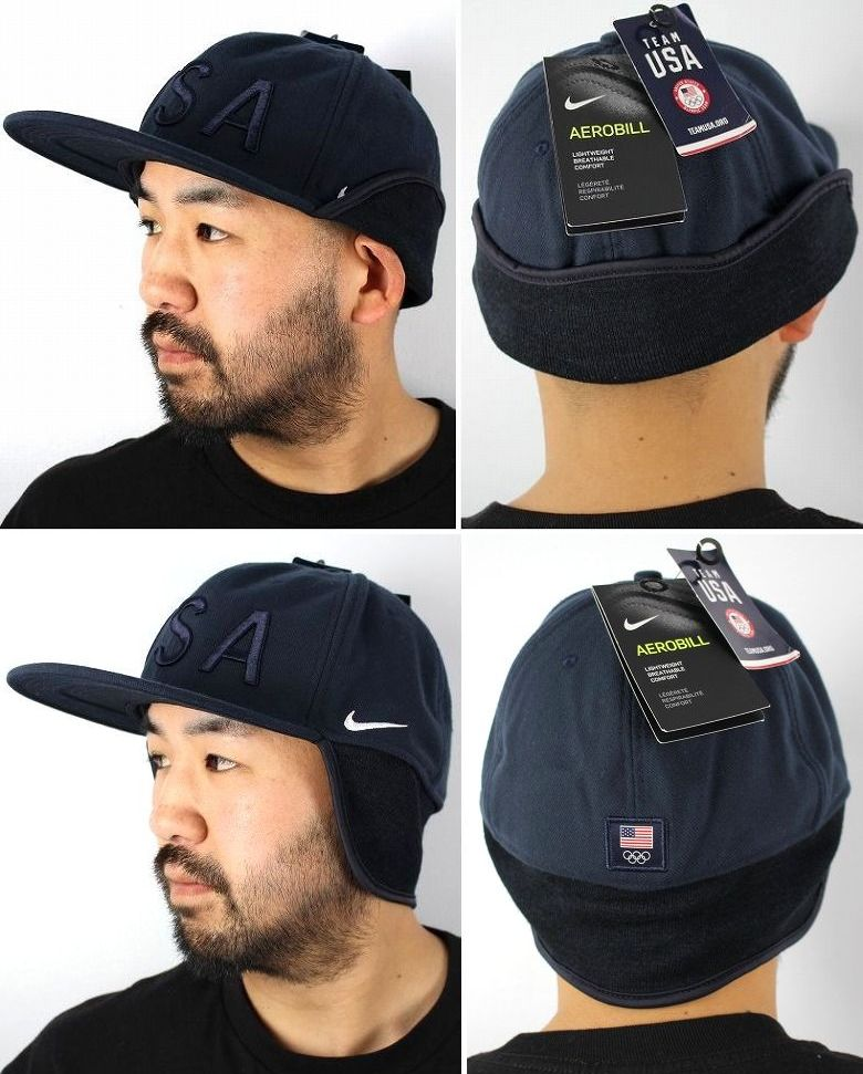 """NIKE / """"USA"""" EAR FLAP FITTED CAP / navy"""