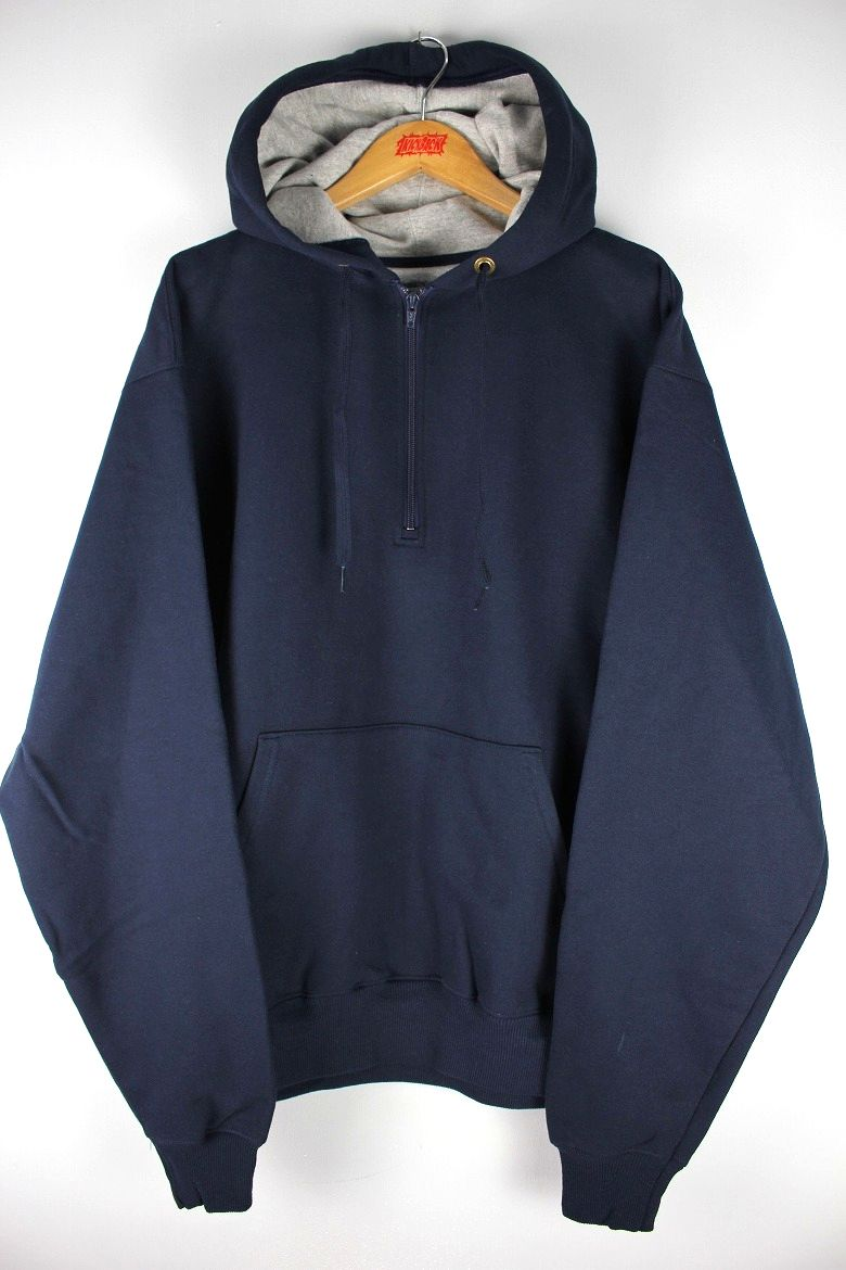 CHAMPION / COTTON MAX HALF ZIP SWEAT HOODY / navy×heather grey