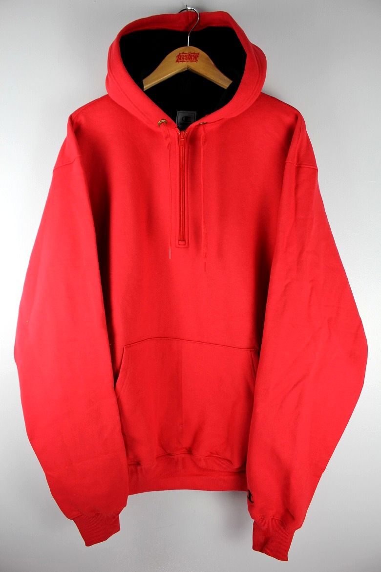171222a3234c CHAMPION   COTTON MAX HALF ZIP SWEAT HOODY   red×black 商品詳細 ...