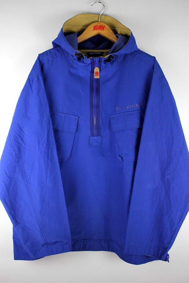 USED!!! TOMMY HILFIGER / COTTON-NYLON ANORAK (90'S) / blue