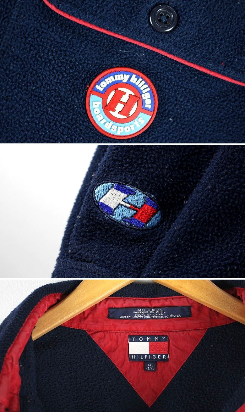 USED!!! TOMMY HILFIGER / PULLOVER FLEECE SHIRTS (90'S) / navy