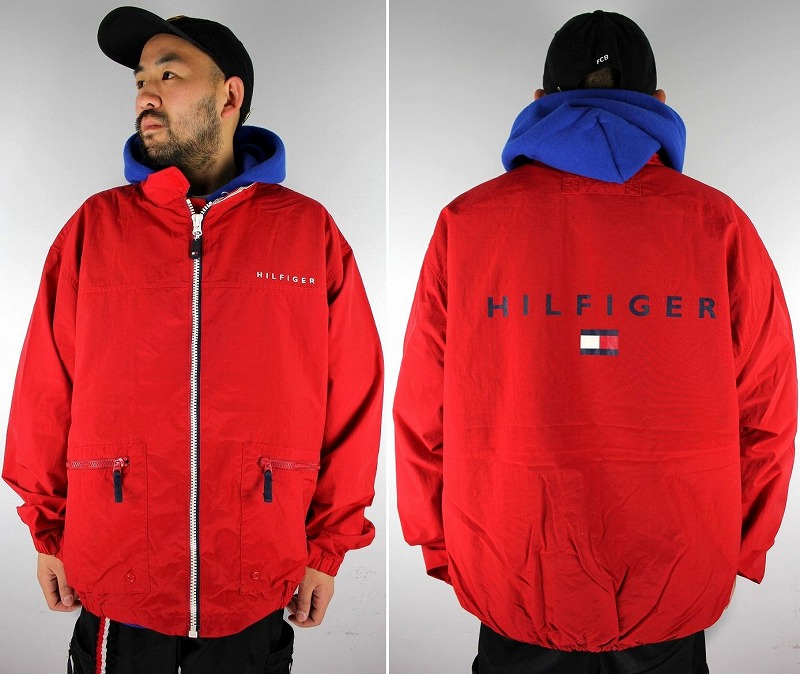 USED!!! TOMMY HILFIGER / NYLON WINDBREAKER (90'S) / red×navy×white