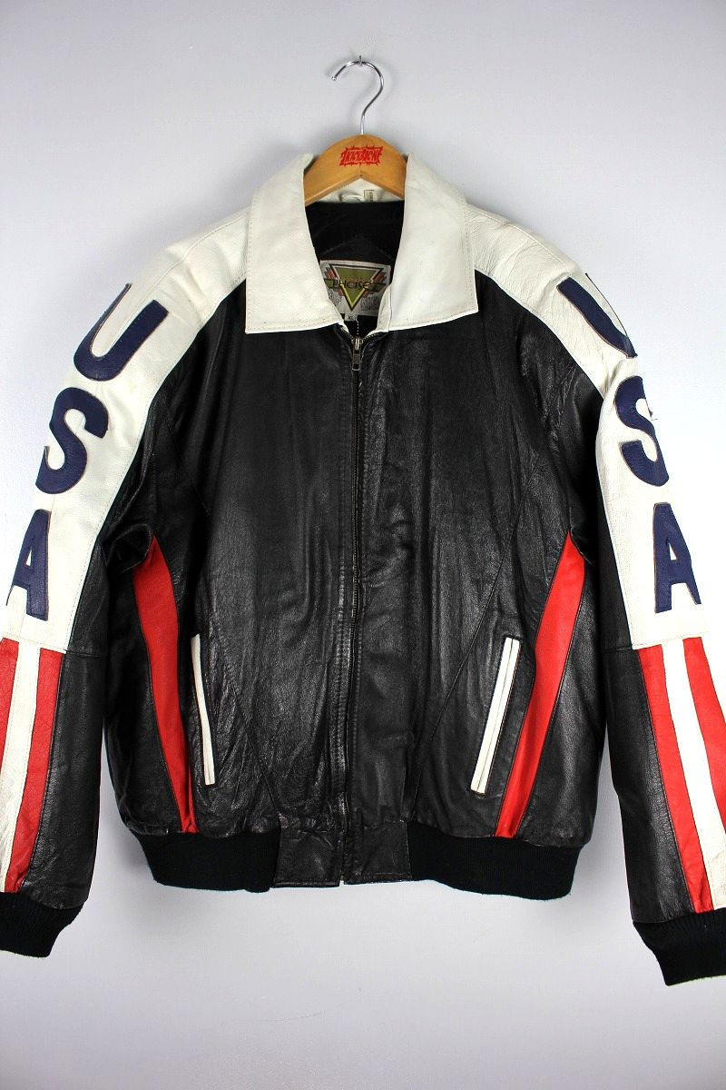 "USED!!! PHASE-2 / ""USA"" LEATHER JACKET (90'S) / black×white×red"