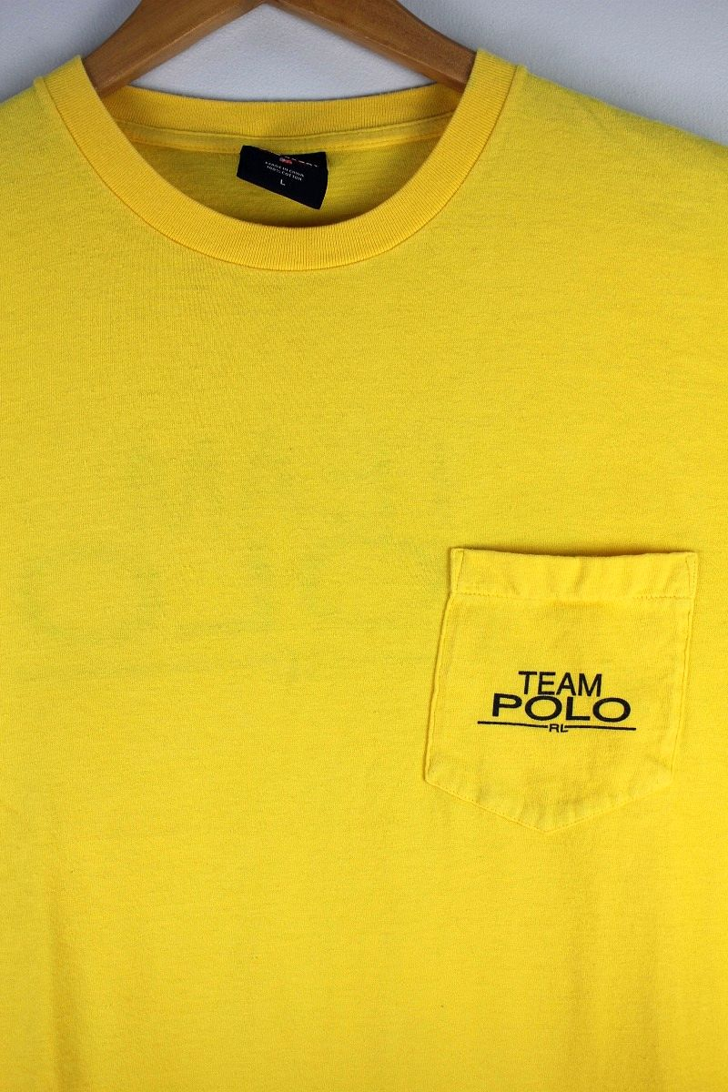"USED!!! POLO SPORT / ""TEAM POLO"" POCKET Tee (90'S) / light yellow"
