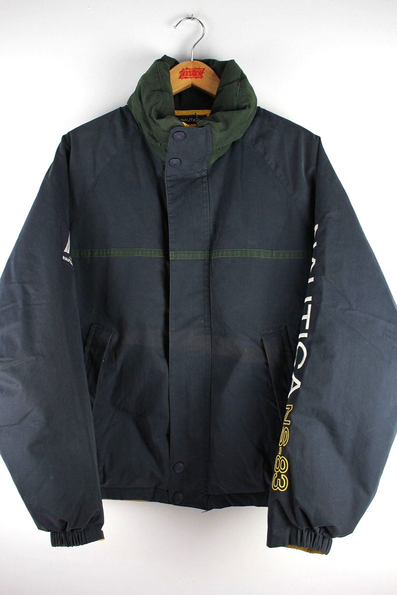 USED!!! NAUTICA / REVERSIBLE DOWN JACKET (90'S) / navy×green⇔yellow