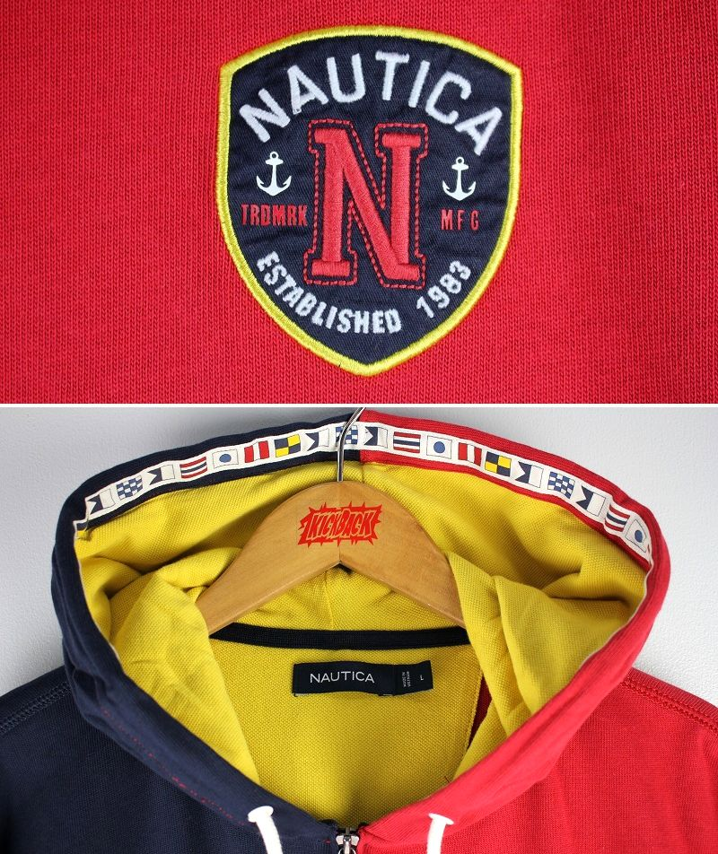 NAUTICA / BLOCKED PULLOVER SWEAT HOODY / navy×red×white×mustard