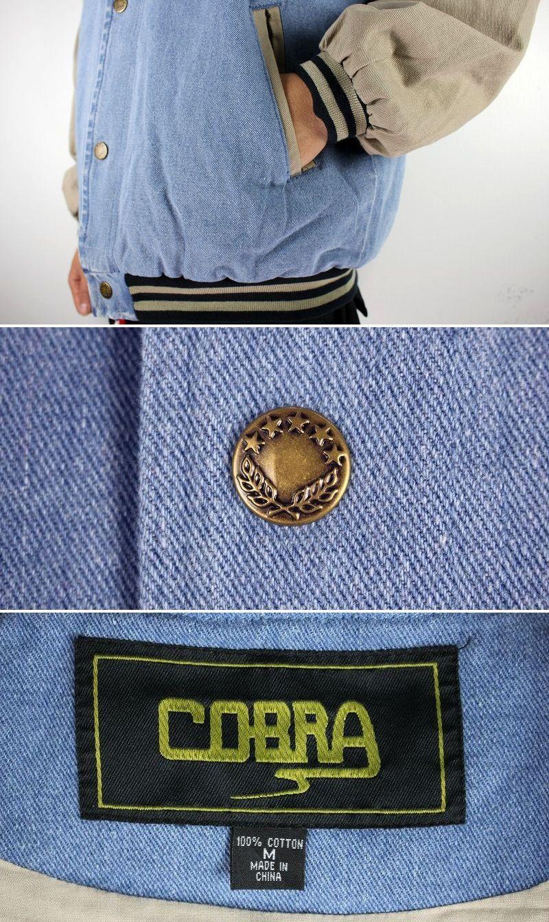 """COBRA CAPS / """"CASCADE"""" DENIM STADIUM JACKET / stonewashed indigo×khaki"""