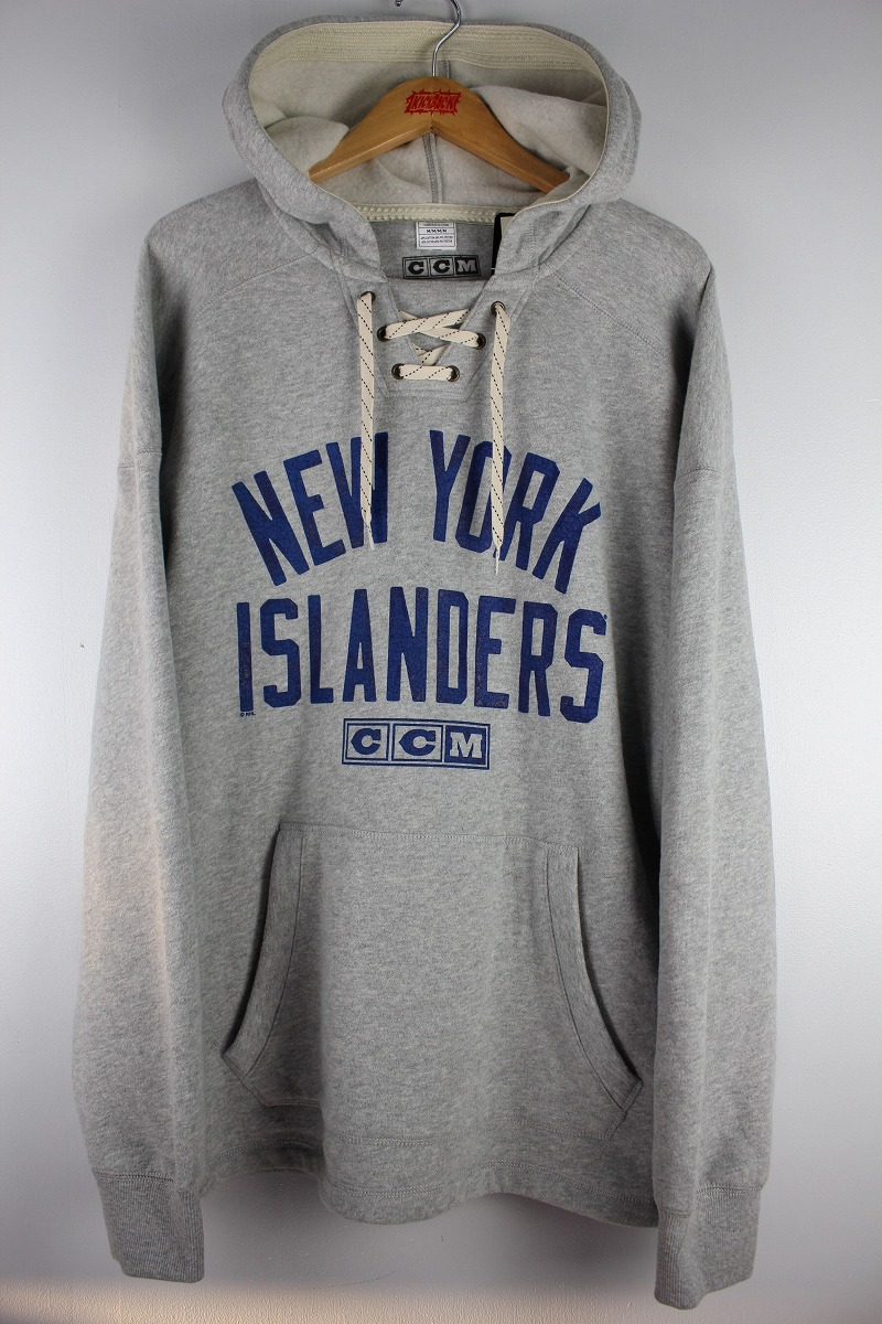 "CCM / ""NEWYORK ISLANDERS"" LACE-UP SWEAT HOODY / heather grey"