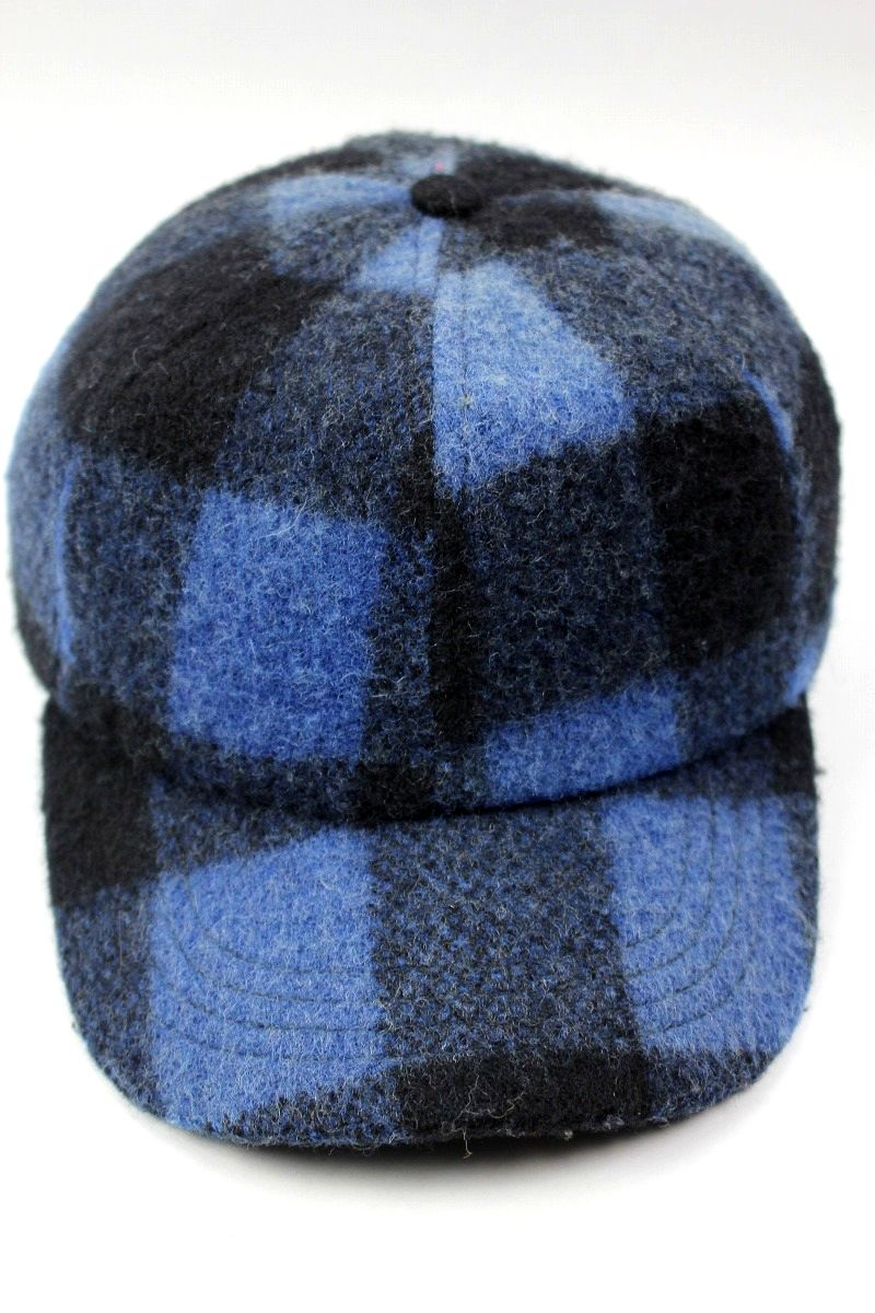 USED!!! KRIS HERMAN / PLAID WOOL STRAPBACK CAP (90'S) / black×blue