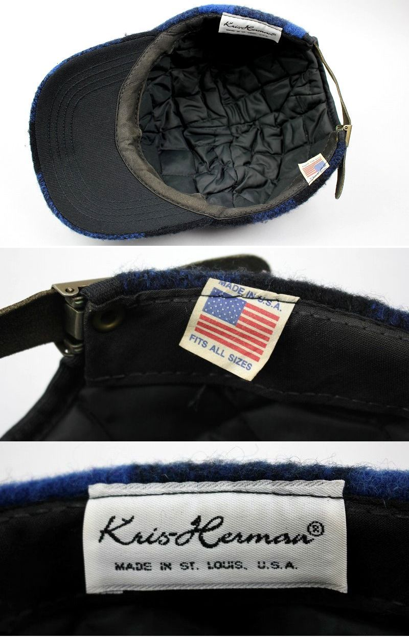 USED!!! KRIS HERMAN / PLAID WOOL STRAPBACK CAP (90'S) / black×blue