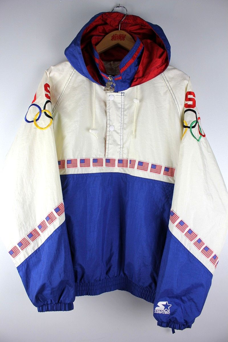 "USED!!! STARTER / ""US OLYMPIK TEAM"" NYLON ANORAK (90'S) / white×blue×red"