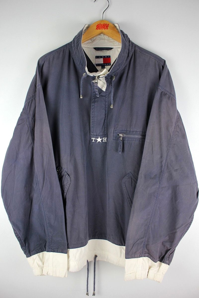 USED!!! TOMMY HILFIGER / COTTON ANORAK (90'S) / washed navy×white