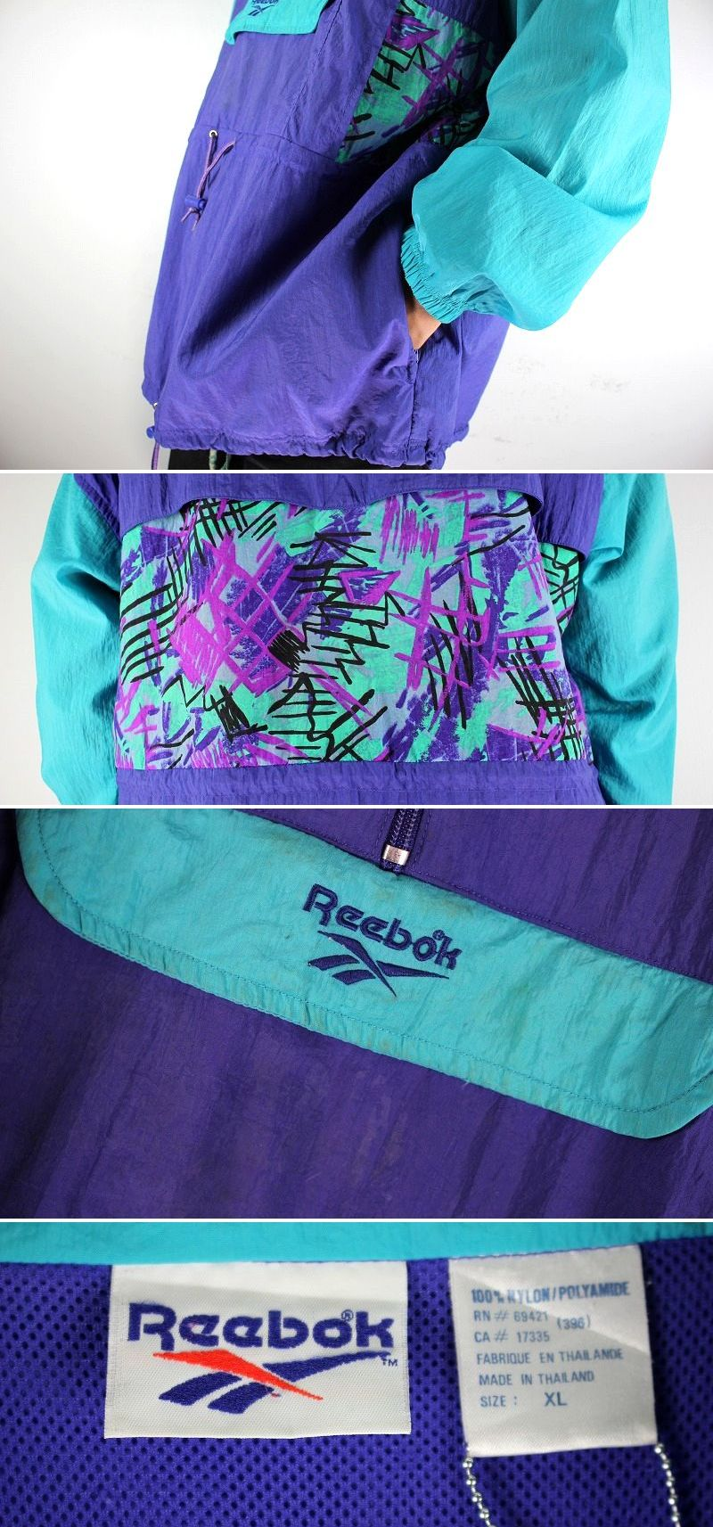 USED!!! REEBOK / NYLON ANORAK (90'S) / purple×tarquoise