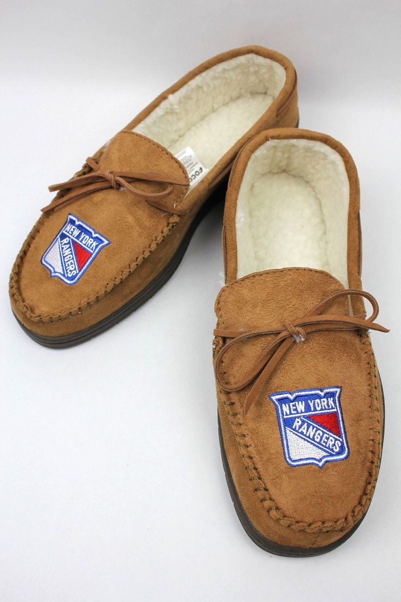 "FOREVER COLLECTIBLES / ""NEWYORK RANGERS"" ROOM SHOES / light brown"