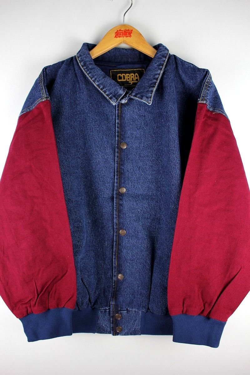 "COBRA CAPS / ""RANGER"" DENIM STADIUM JACKET / dark stonewashed denim×burgundy"