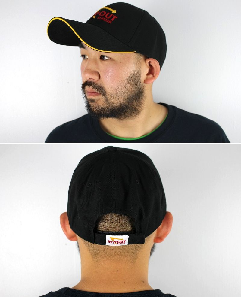 "IN-N-OUT BURGER / ""LOGO"" STRAPBACK CAP / black×yellow"