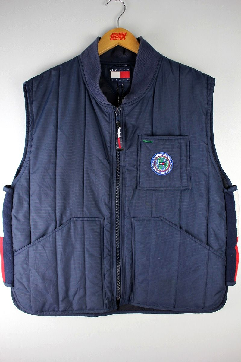 USED!!! TOMMY HILFIGER / NYLON PUFF VEST (90'S) / navy