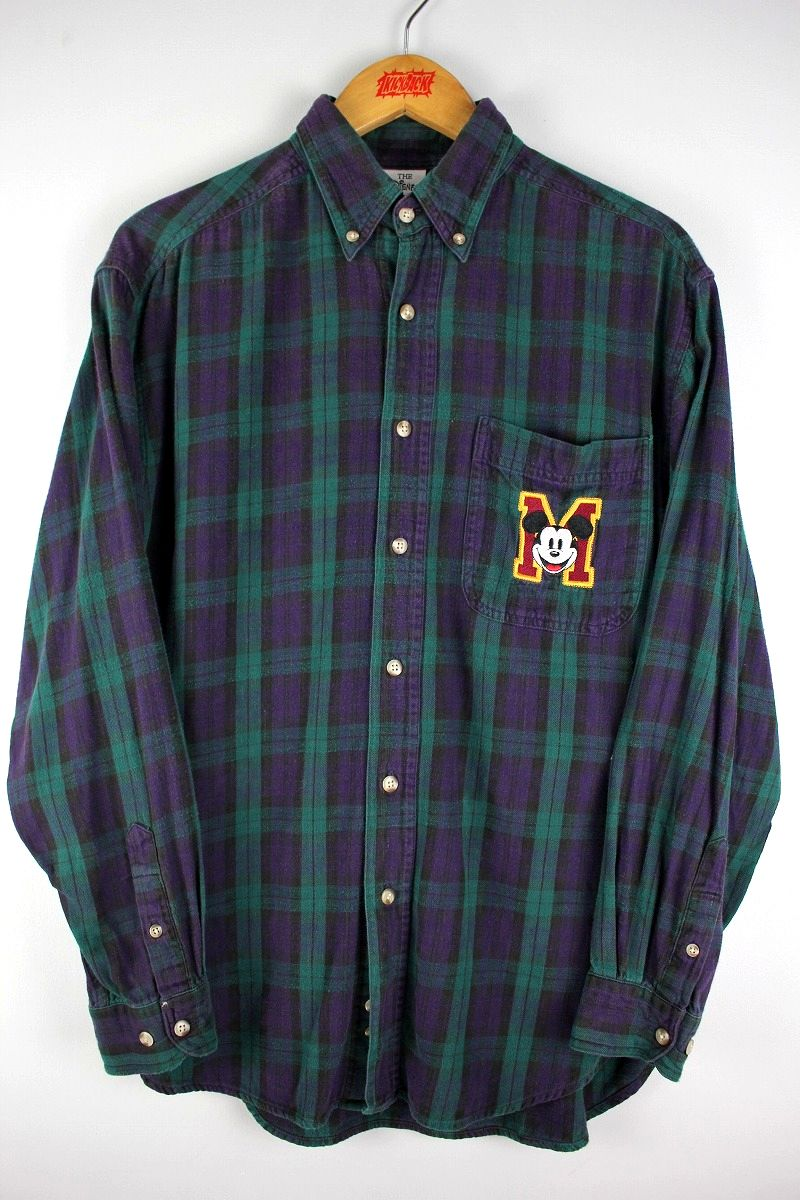 "USED!!! WALT DISNEY OFFICIAL / ""MICKEY"" PLAID FLANNEL SHIRT (90'S) / navy×green"