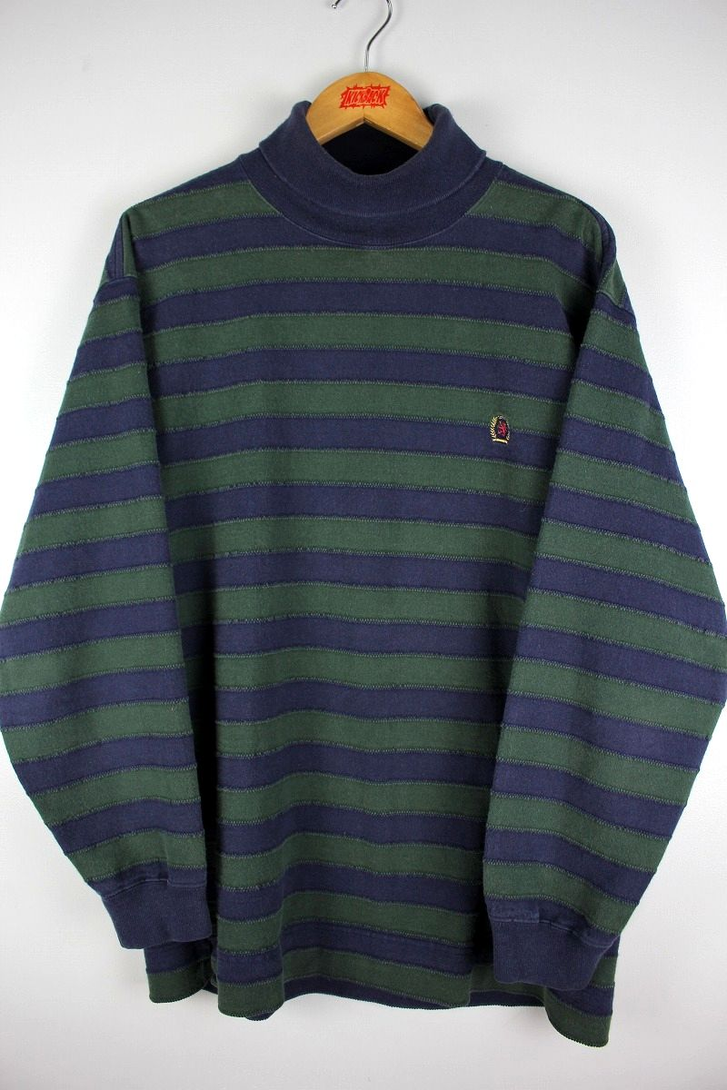 USED!!! TOMMY HILFIGER / TURTLENECK BORDER CUT&SAW (90'S) / navy×green