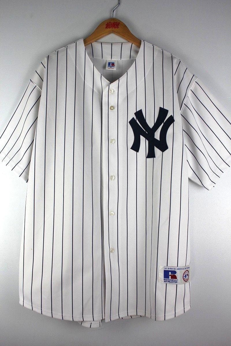 "USED!!! RUSSEL ATHLETIC / ""NEWYORK YANKEES -松井秀喜-"" PIN STRIPED BASEBALL JERSEY (90'S) / white×navy"