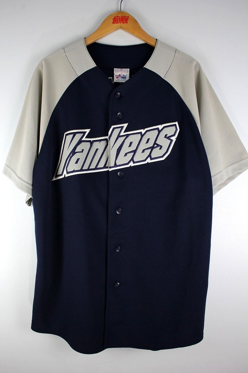 "USED!!! MAJESTIC / ""NEWYORK YANKEES -JETER-"" BASEBALL JERSEY (90'S) / navy×grey"