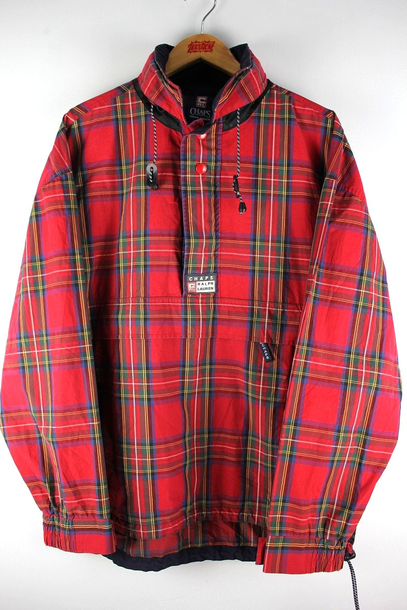 USED!!! CHAPS RALPH LAUREN / PLAID COTTON ANORAK (90'S) / red×navy×yellow
