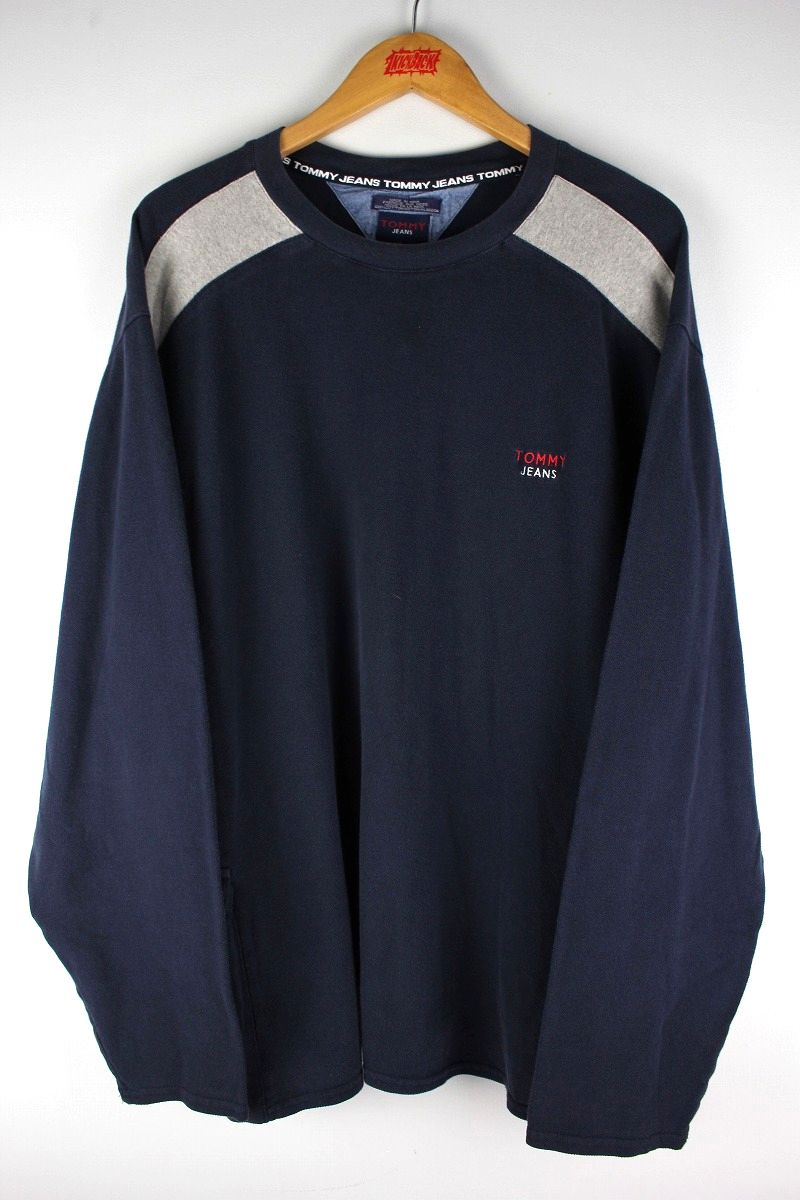 USED!!! TOMMY HILFIGER / LS CUT&SAW (90'S) / navy×heather grey