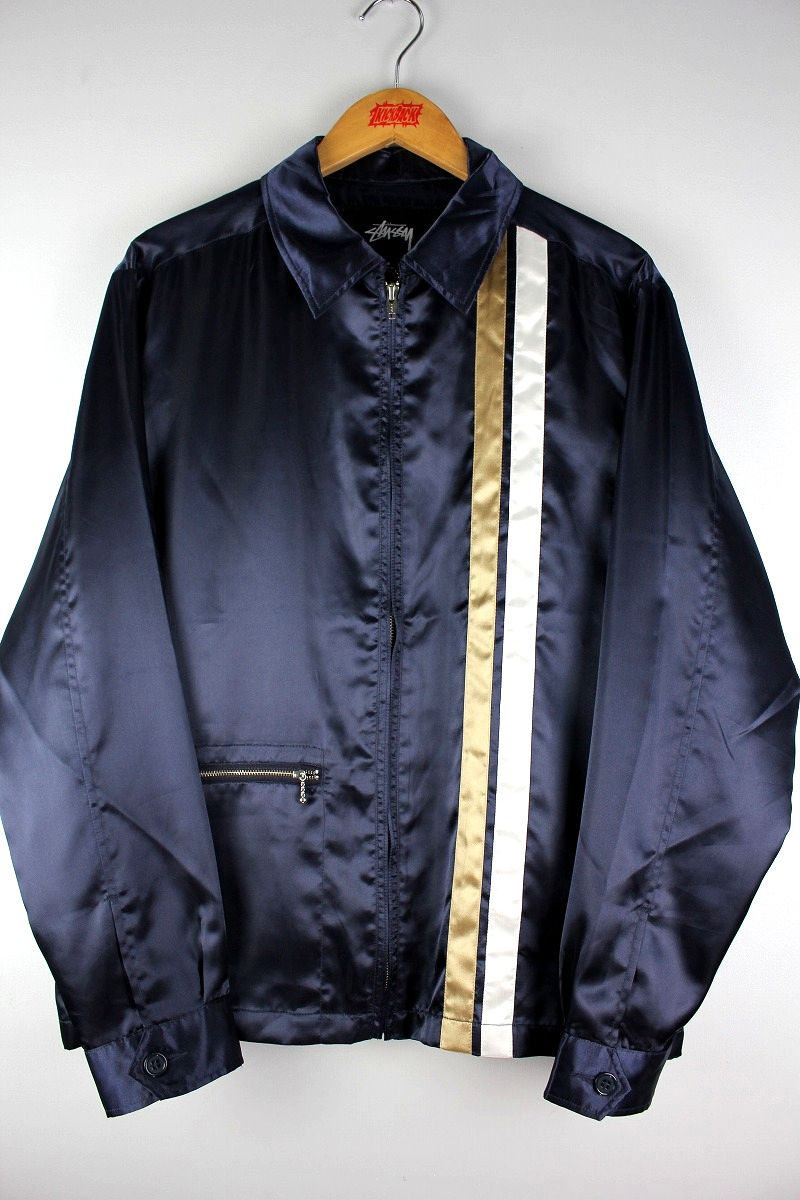 STUSSY / SATIN RACING JACKET / navy×beige×white