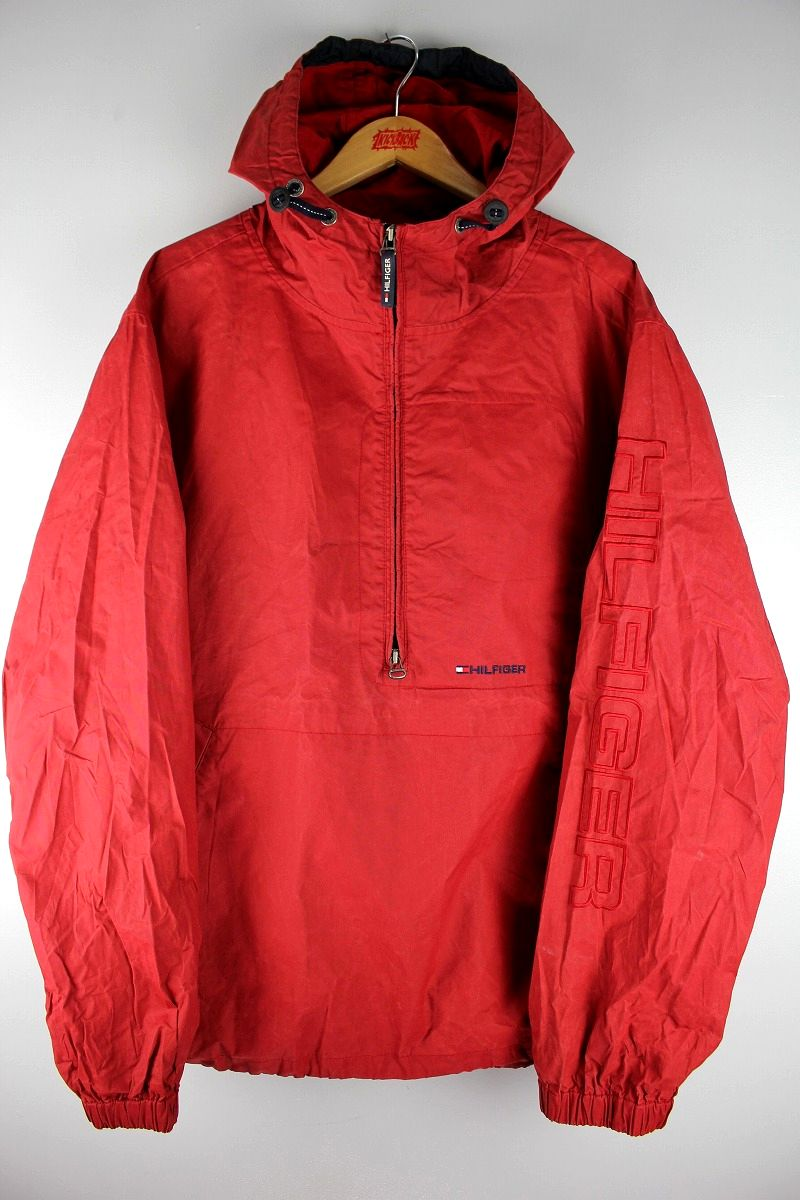 USED!!! TOMMY HILFIGER / WATER PROOF COTTON ANORAK (90'S) / red