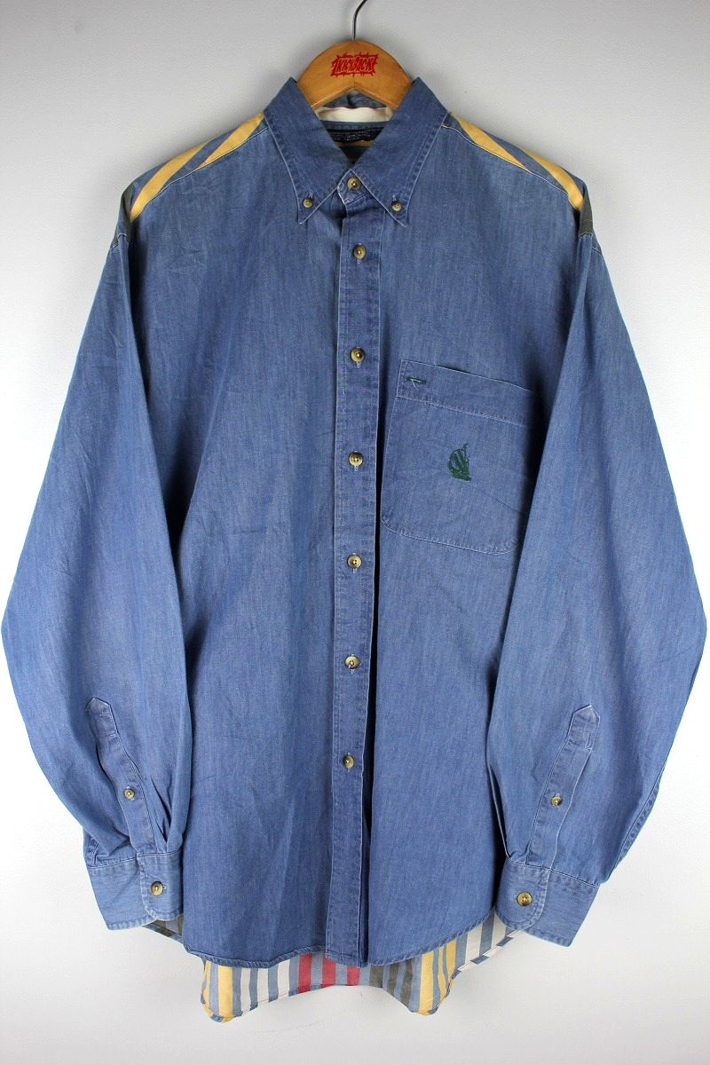 USED!!! NAUTICA / BACK STRIPE CHAMBRAY BUTTON DOWN SHIRTS (90'S)