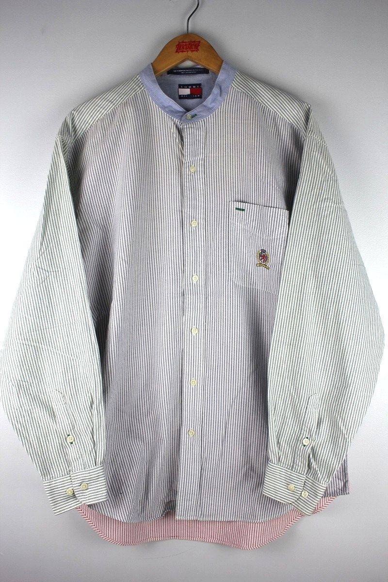 USED!!! TOMMY HILFIGER / STRIPED STAND COLLAR SHIRTS (90'S)