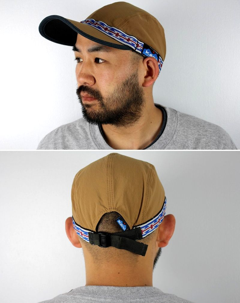USED!!! KAVU / NATIVE STRAP NYLON CAP (90'S) / light brown