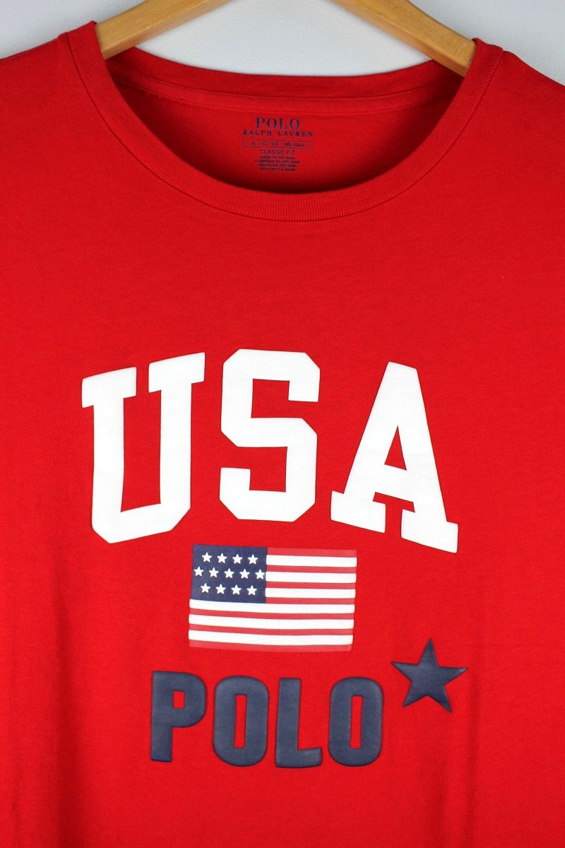"POLO RALPH LAUREN / ""USA"" Tee / red"