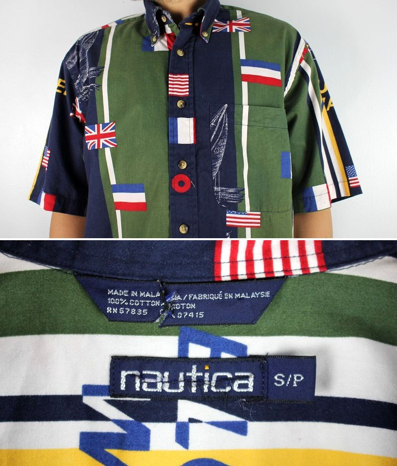 USED!!! NAUTICA / ALL OVER PRINT SS BUTTON DOWN SHIRTS (90'S) / navy×green