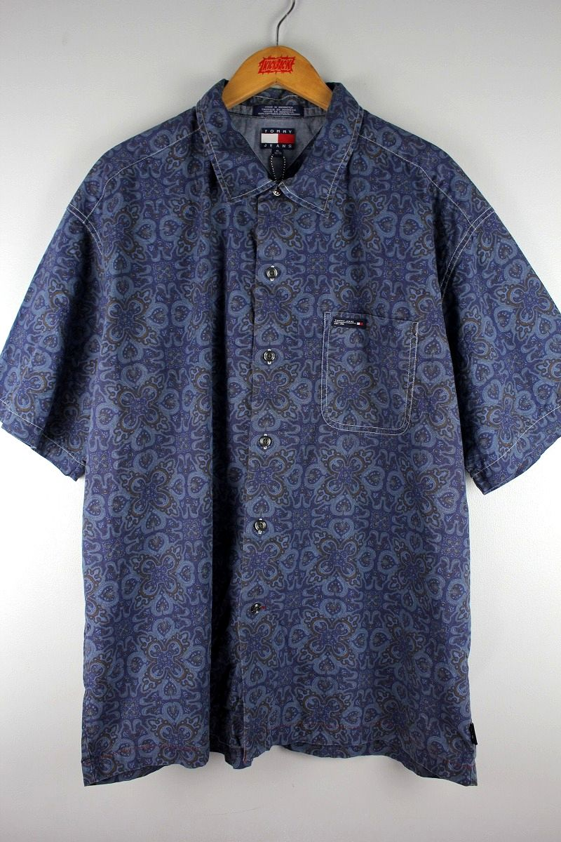 USED!!! TOMMY HILFIGER / PAISLEY SS SHIRTS (90'S) / navy