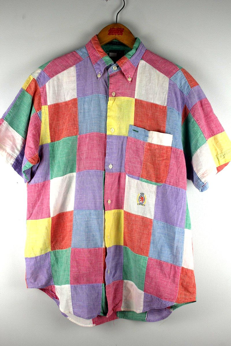 USED!!! TOMMY HILFIGER / PATCHWORK SS BUTTON DOWN SHIRTS (90'S)