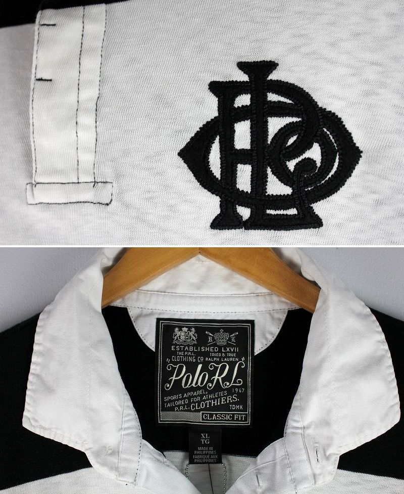 POLO RALPH LAUREN / LS RUGBY SHIRTS / black×white