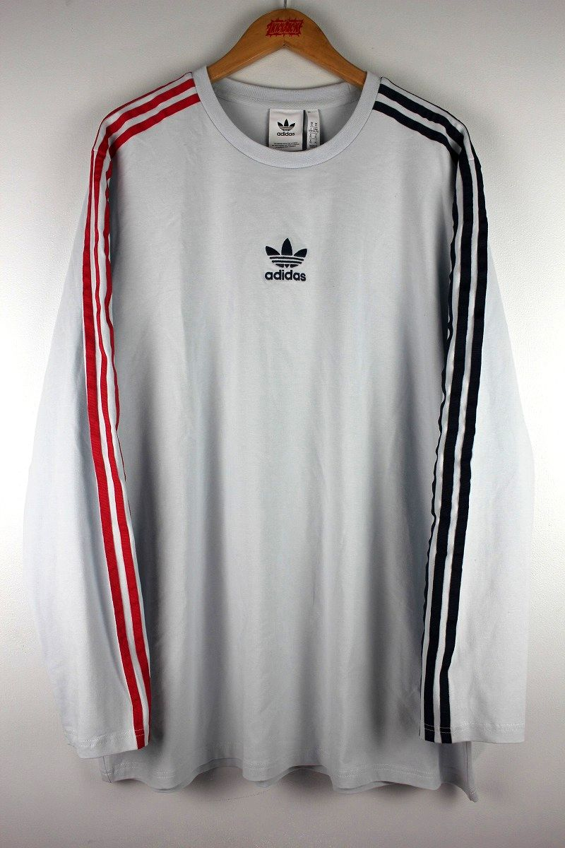 adidas ORIGINALS / 3 STRIPES LS Tee / light bluegrey×red×navy