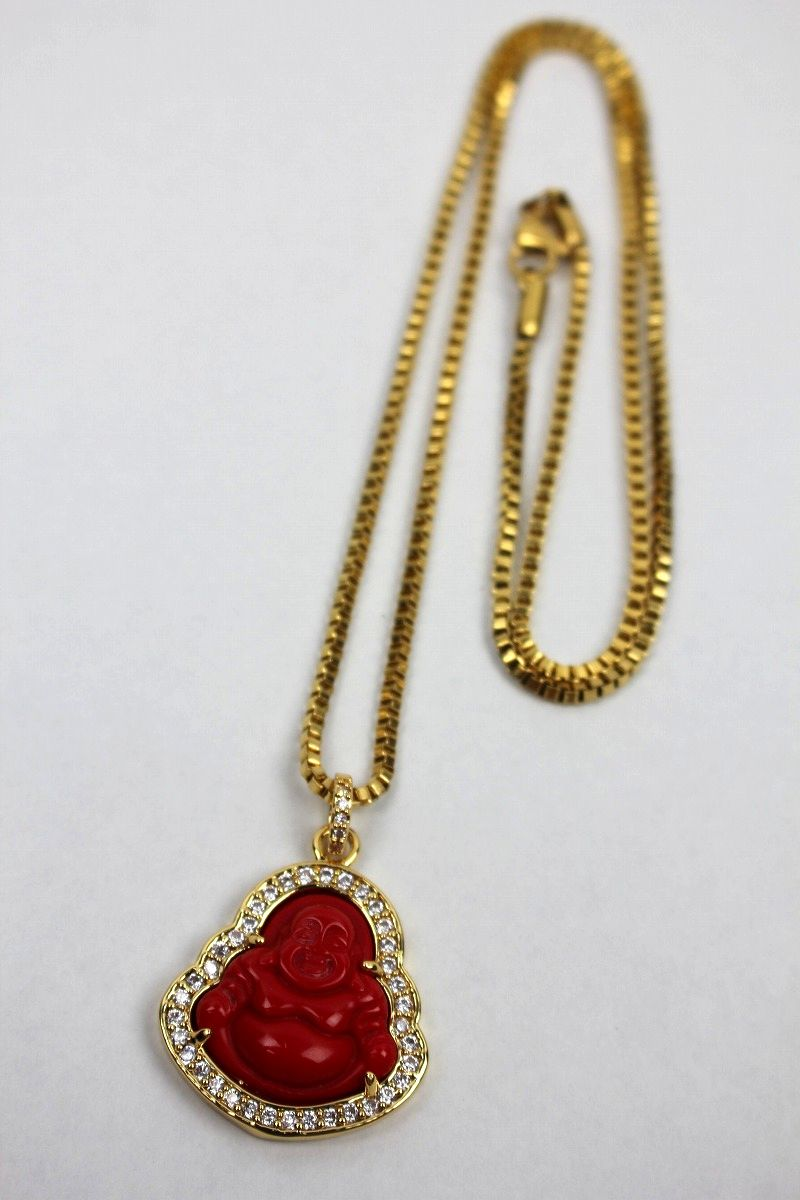 "GOLDEN GILT / ""RED BUDDHA"" NECKRACE / gold"