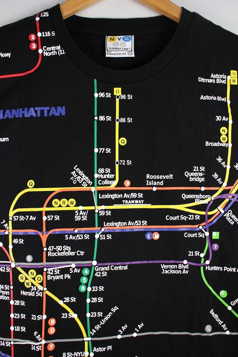 "NYC SUBWAY / ""MANHATTAN MAP"" Tee / black"