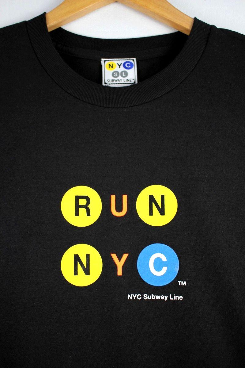 """NYC SUBWAY / """"RUN NYC"""" Tee / black"""